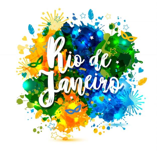 Надпись рио-де-жанейро отпуск бразилии Premium векторы