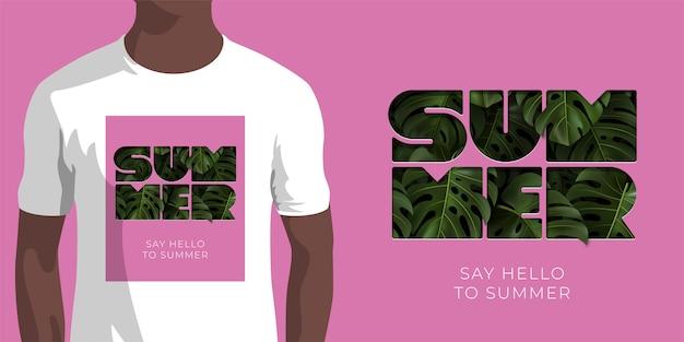 熱帯の緑の碑文は夏にハローと言ってピンクの背景にモンステラを残します。服、アパレル、シャツプリントのテンプレートです。押し出しタイポグラフィのイラスト。 Premiumベクター