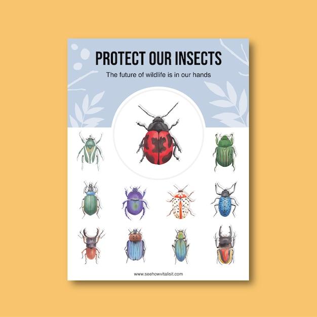 Насекомое и птица плакат с различными жуков акварельные иллюстрации. Бесплатные векторы