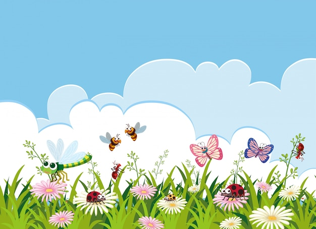 Insect and beautiful flower template Premium Vector
