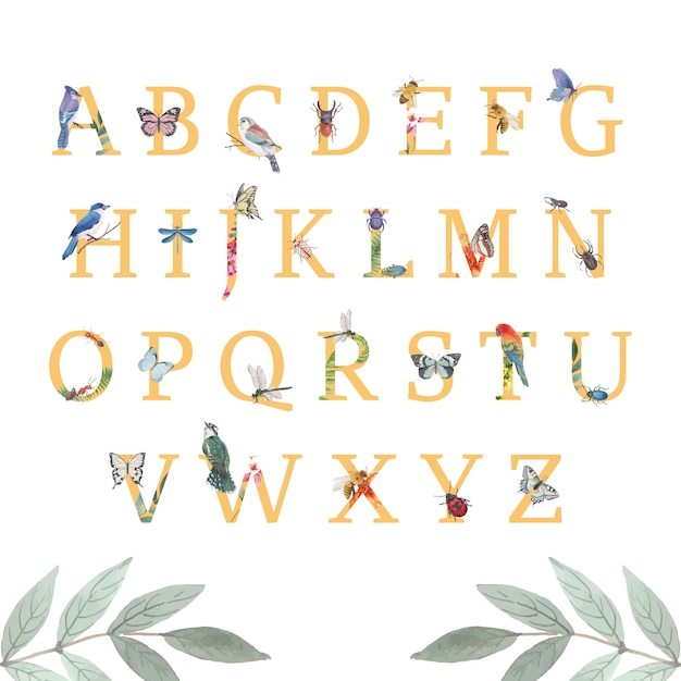Insect and bird alphabet with butterfly, beetle, bird watercolor illustration. Free Vector