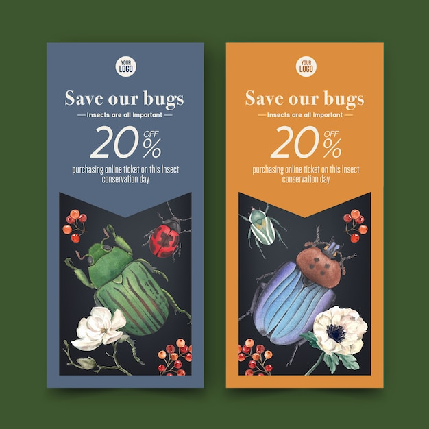 Insect and bird flyer with flower, beetle, ladybug watercolor illustration. Free Vector