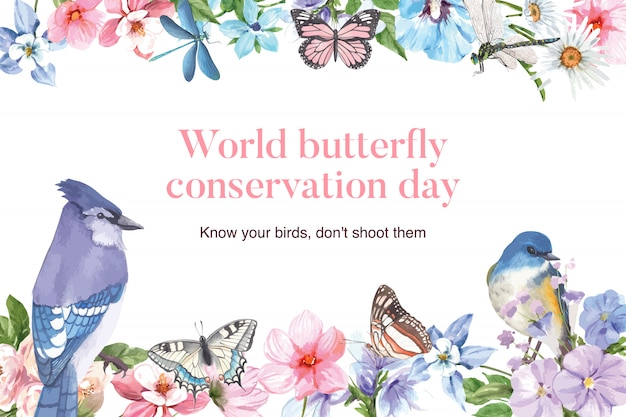 Insect and bird frame with blue jay, butterfly, dragonfly watercolor illustration. Free Vector