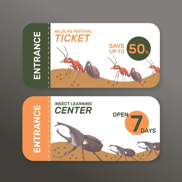 Insect and bird ticket with ant, beetle watercolor illustration. Free Vector