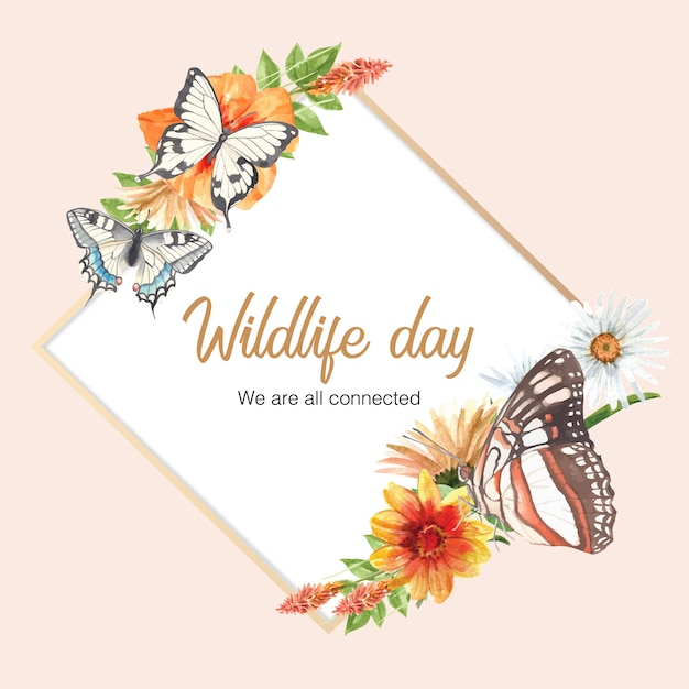 Insect and bird wreath with butterfly and flowers watercolor illustration. Free Vector