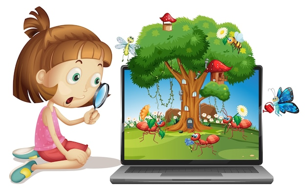 Insect cartoon fairy on computer background Free Vector
