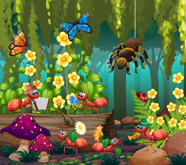 Insect in the fairy forest Premium Vector
