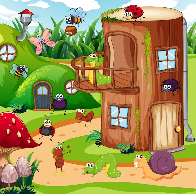 Insect in the fairy house Premium Vector