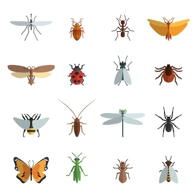 昆虫アイコンフラット 無料ベクター