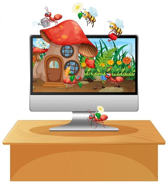 Regno degli insetti sullo sfondo dello schermo del computer Vettore gratuito