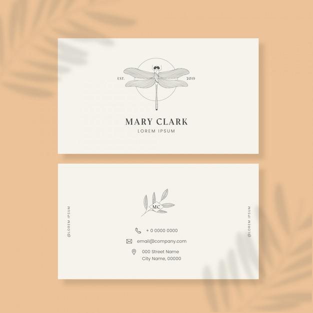 Визитная карточка с логотипом насекомого Бесплатные векторы