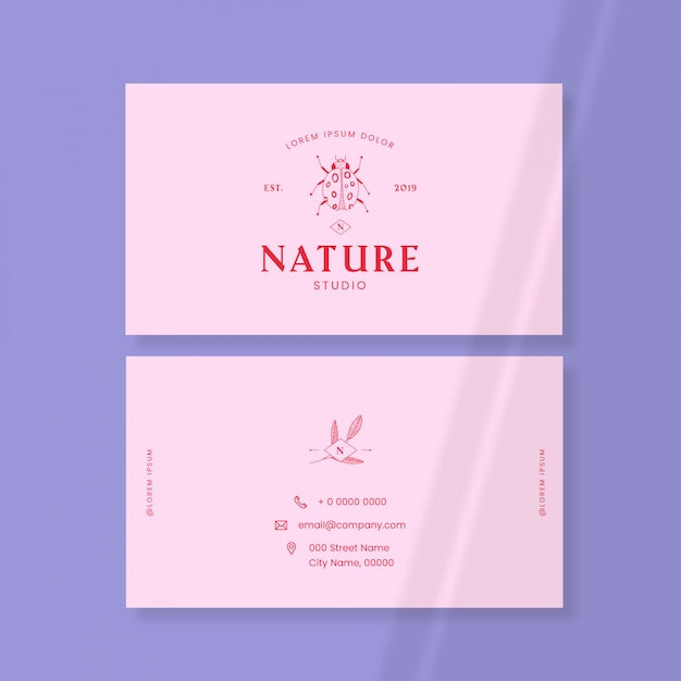Insect logo business card Free Vector