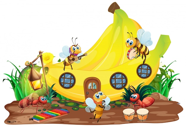 Insect musical band playing in front of banana house Free Vector