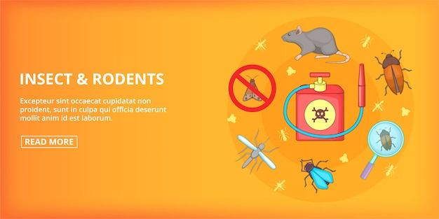 Insect rodents banner horizontal, cartoon style Premium Vector