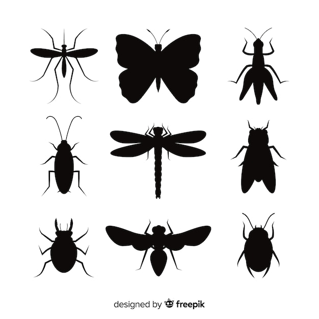 Insect silhouette pack Free Vector