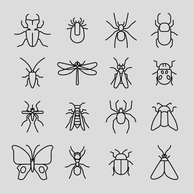 Insect thin line icons set Premium Vector