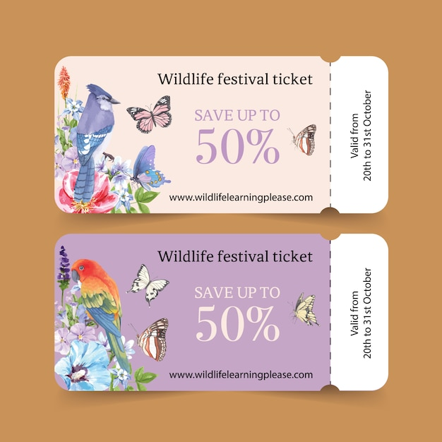 Insect ticket with parrot, butterfly, blue jay watercolor illustration. Free Vector