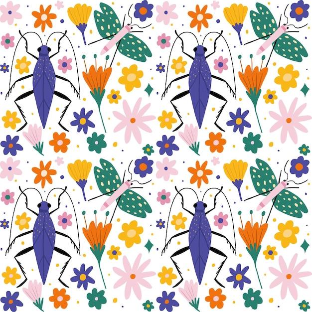 昆虫と花のパターンコレクション 無料ベクター
