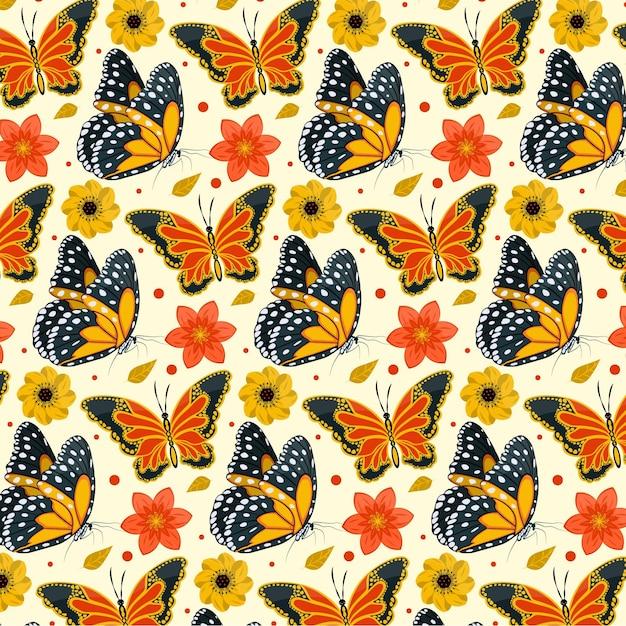 昆虫と花のパターンパックのテーマ 無料ベクター