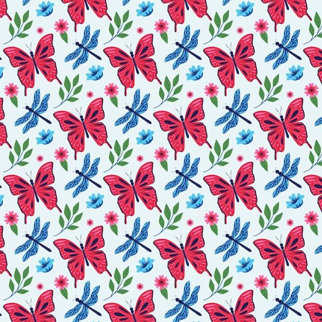 昆虫と花のパターンパック 無料ベクター