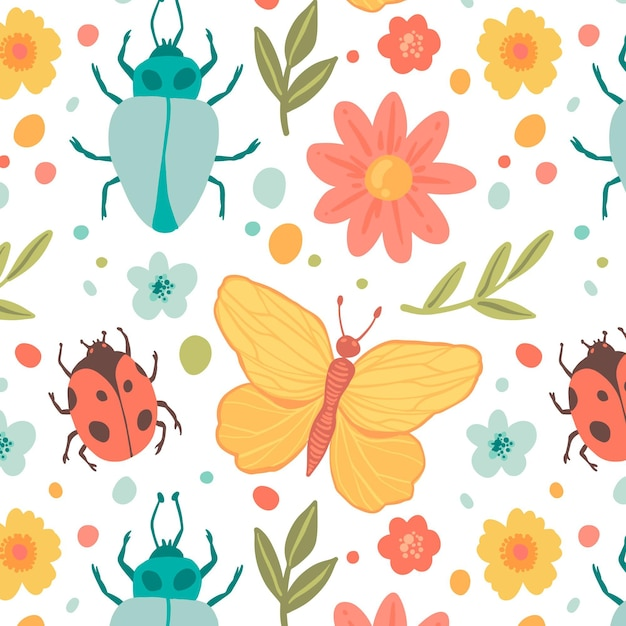 昆虫と花のパターンテンプレート 無料ベクター