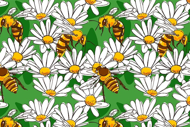 Насекомые и цветы Бесплатные векторы