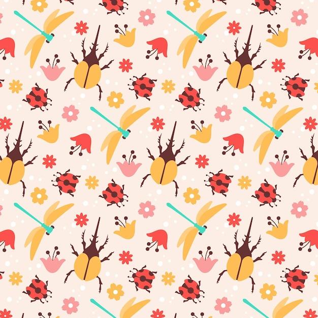 곤충과 꽃 패턴 무료 벡터