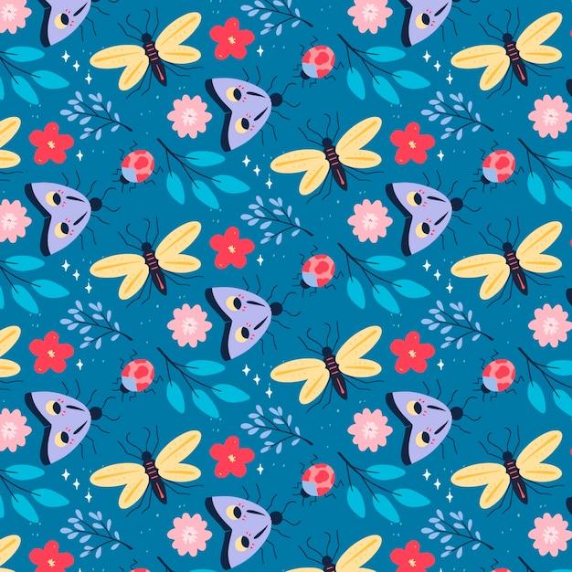 昆虫と花のパターン 無料ベクター
