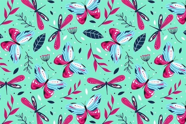 昆虫と花のパターン Premiumベクター