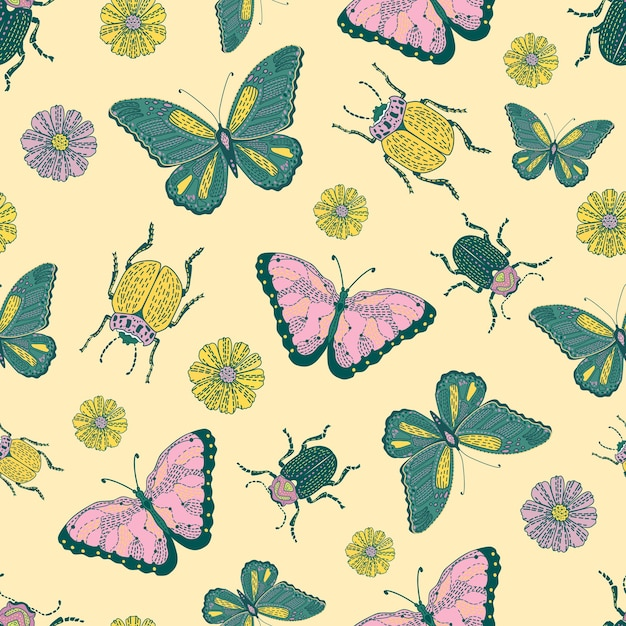 곤충과 꽃 완벽 한 패턴입니다. 행복하고 화려한 배경입니다. 개체가 격리됩니다. 프리미엄 벡터
