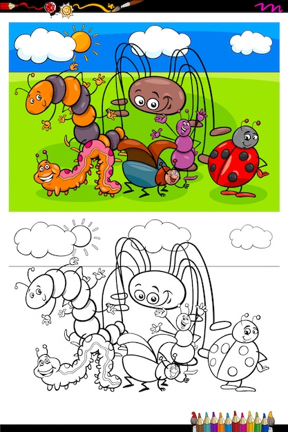 Insects animal characters group color book Premium Vector