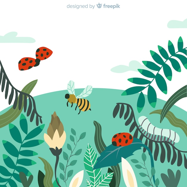 Insects field spring background Free Vector