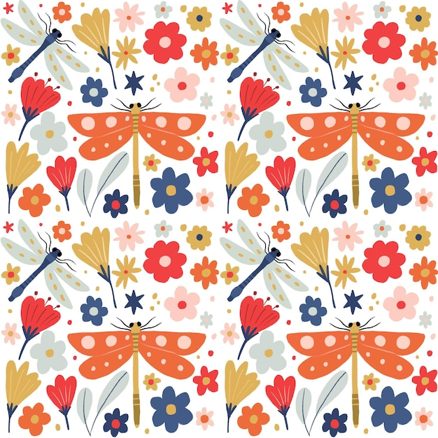 Insects and flowers pattern collection design Free Vector