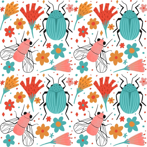 Insects and flowers pattern collection theme Free Vector
