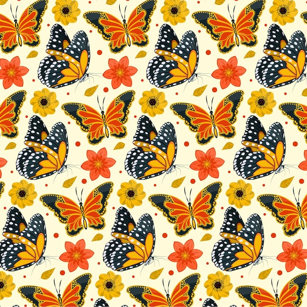 Insects and flowers pattern pack theme Free Vector