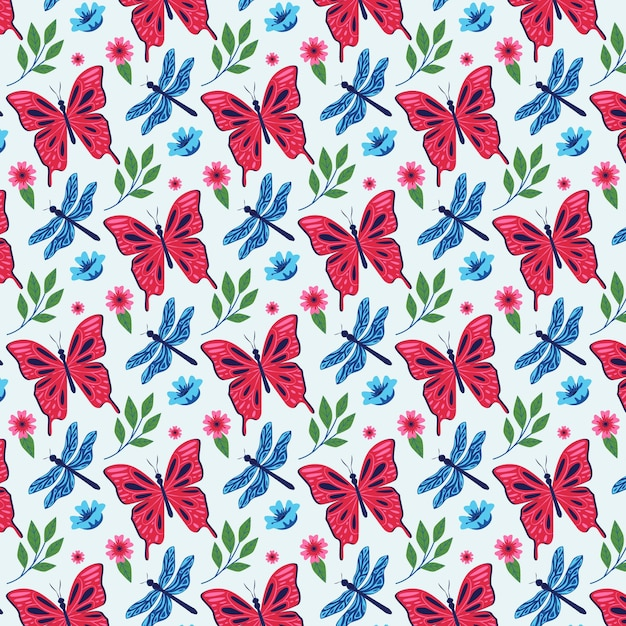 Insects and flowers pattern pack Free Vector