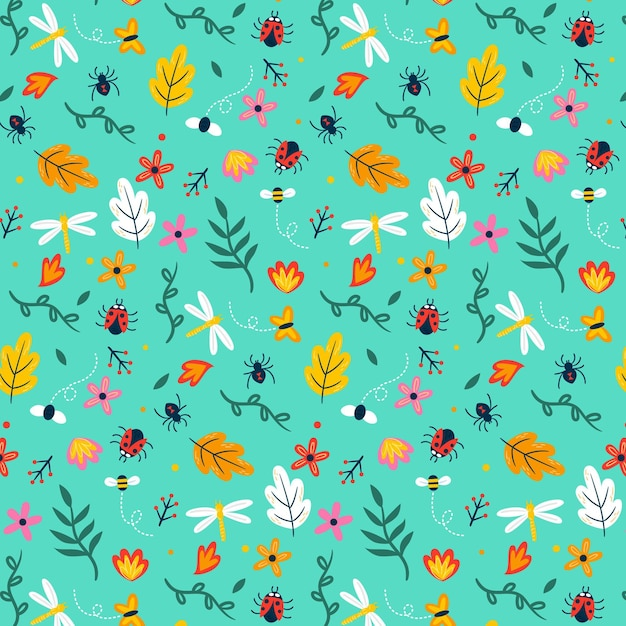 Insects and flowers pattern theme Free Vector