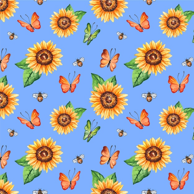 Insects and flowers pattern Premium Vector