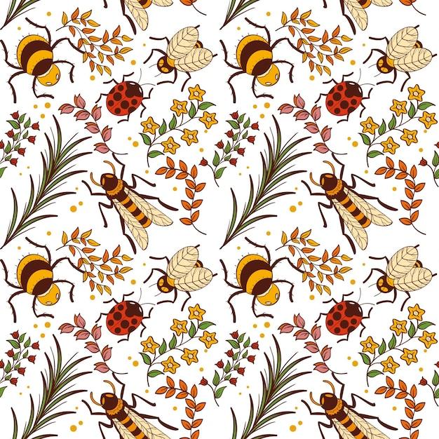 Modello di insetti e fiori Vettore gratuito