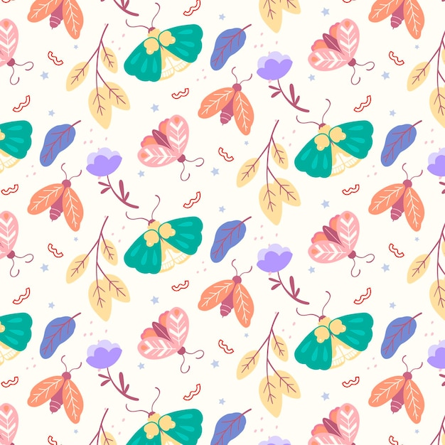 Insects and flowers pattern Free Vector