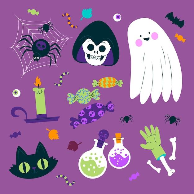 Collezione di insetti e oggetti di halloween Vettore gratuito