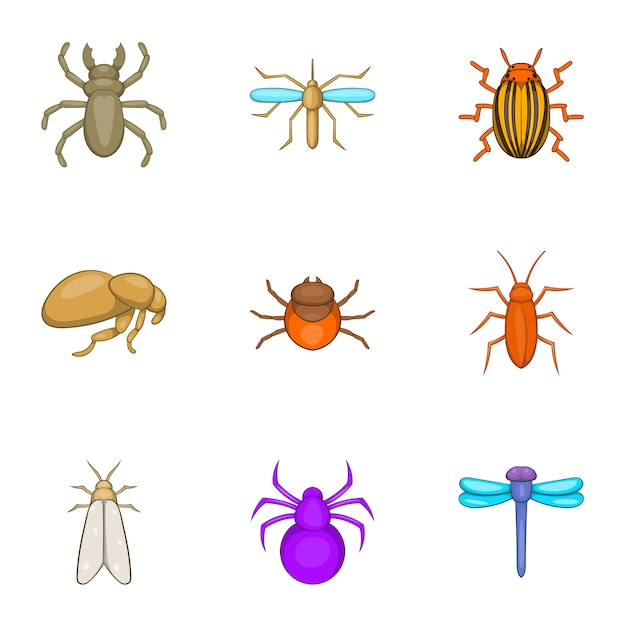 昆虫のアイコンセット、漫画のスタイル Premiumベクター