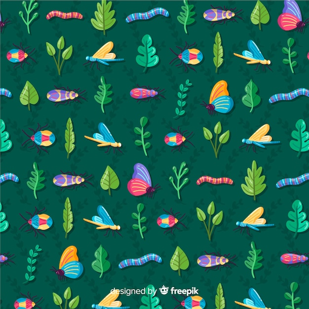 Insects and plants pattern background Free Vector