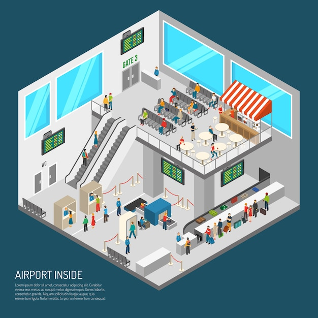 Inside airport isometric poster Free Vector