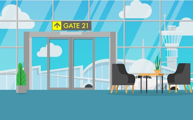 Inside Airport Terminal Vector Premium Download