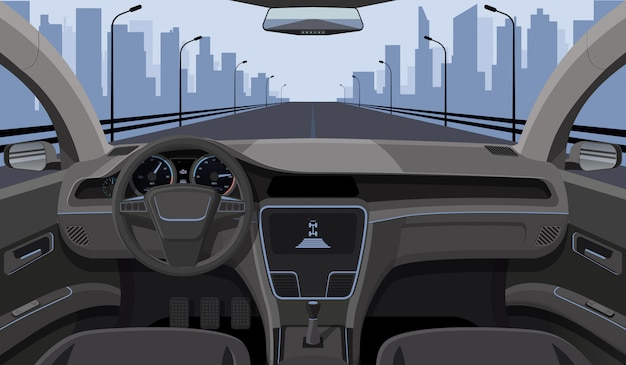 Inside car driver view with rudder, dashboard front panel and highway in windshield cartoon highway Premium Vector