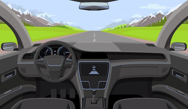 Inside car driver view with rudder Premium Vector
