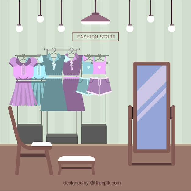 Inside fashion store in flat design Free Vector