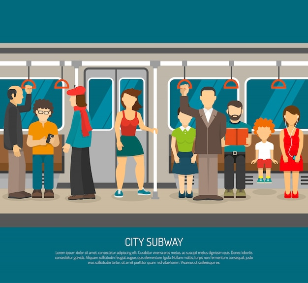 Inside subway train poster Free Vector