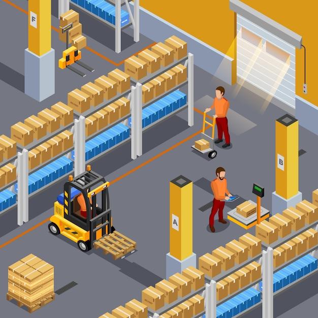 Inside warehouse illustration Free Vector